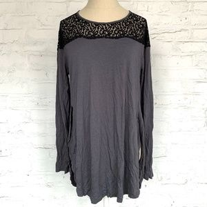 Old Navy tunic long sleeve top gray black lace L